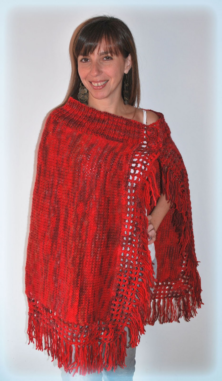 Ponchos tejidos a palillos y crochet - Imagui