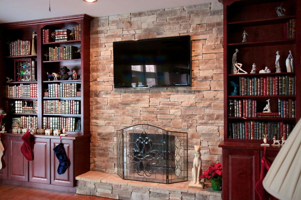 North Star Stone Stone Fireplaces Stone Exteriors Stone Fireplace With Book Cases Naperville Il