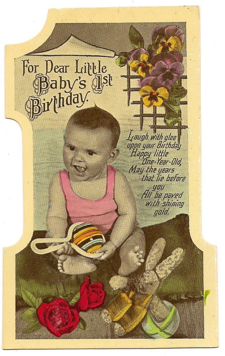 Judys Postcards Plus For Dear Little Babys 1st Birthday Vintage – Glee Birthday Card