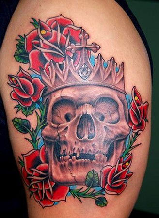 rose skull tattoo. rose skull tattoo