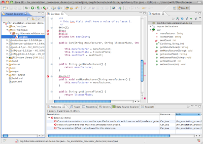 Hibernate Validator Annotation Processor in Eclipse IDE
