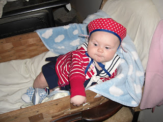 Fourth of July with handmade sailor hat