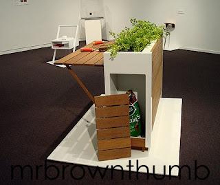 Deceptive Gardening, Urban gardening planter storage area