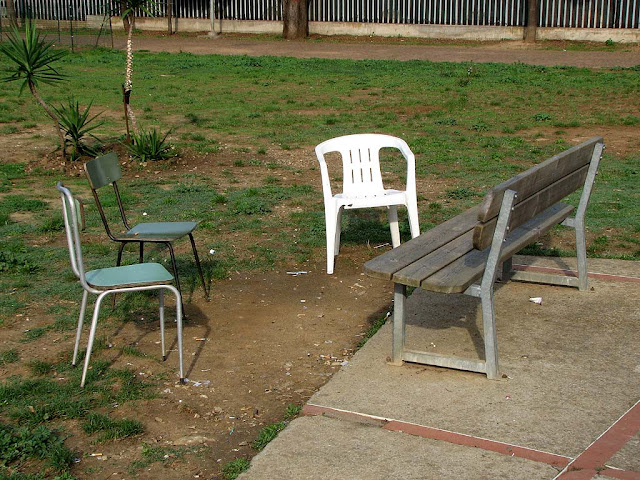 Bench with chairs, near via Goito, Livorno