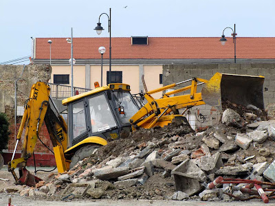 Excavator at work for the new canal, Livorno