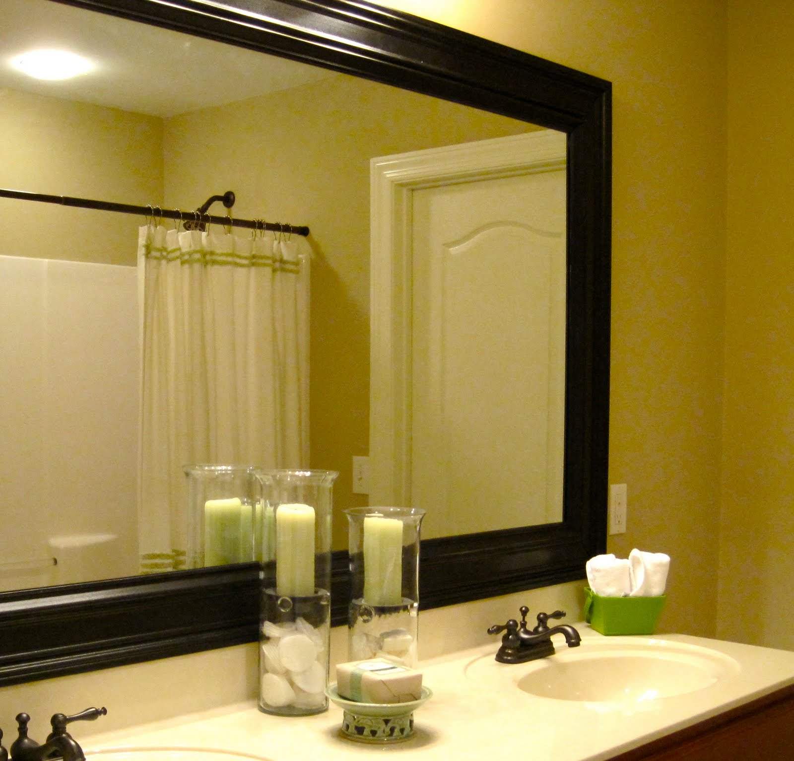 Remodelaholic bathroom mirror frame tutorial for How to frame mirror in bathroom