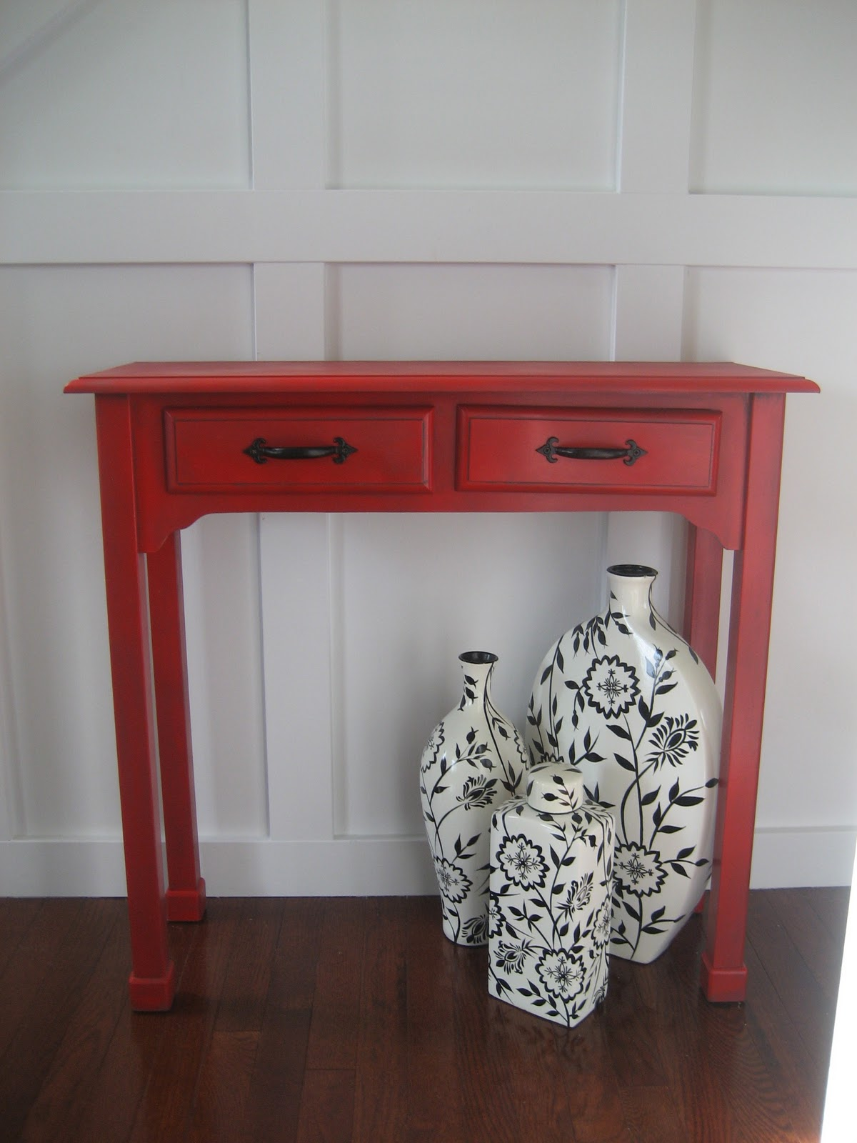 Red Painted And Glazed Accent Table
