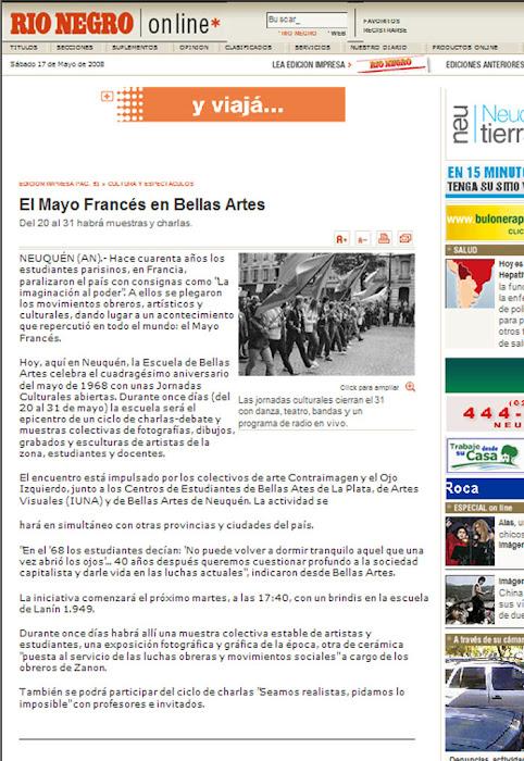 Articulo publicado en el Diario Rio Negro el 17/05/2008