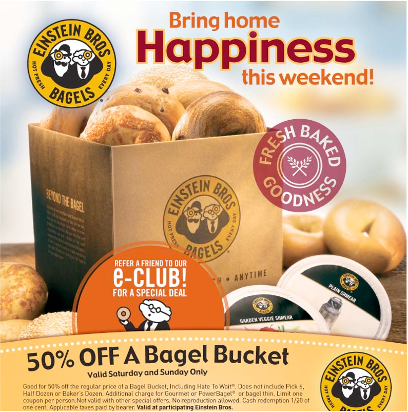 Einstein bagels coupons 20 off