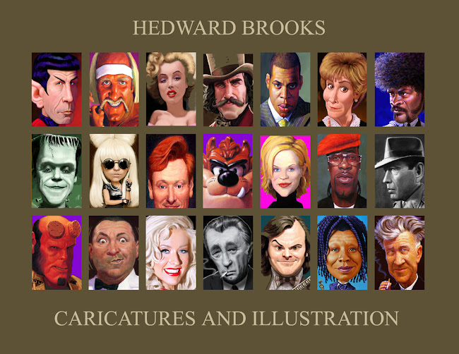 h. edward brooks celebrities,  caricature, portrait and sports illustration
