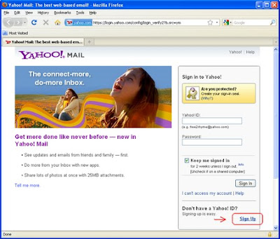 how to create yahoo account in mobile