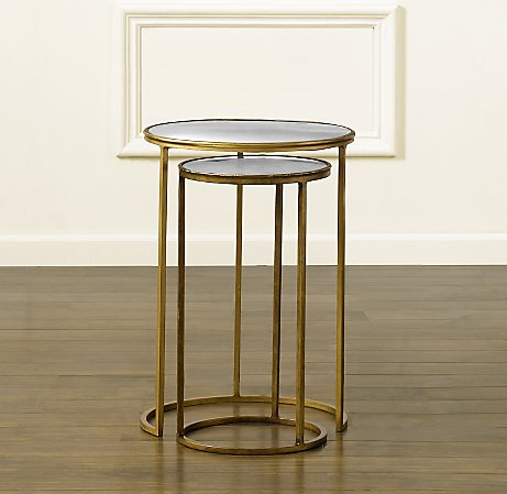 Round nesting tables with Églomisé mirror glass tops