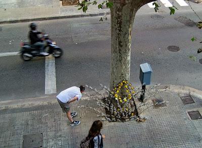 Vanmorgen zag ik een luchtig geklede man een decoratiestuk bestuderen dat schuin tegen een boom stond