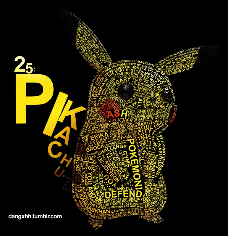 Wattlebird Awesome Typographic Pikachu