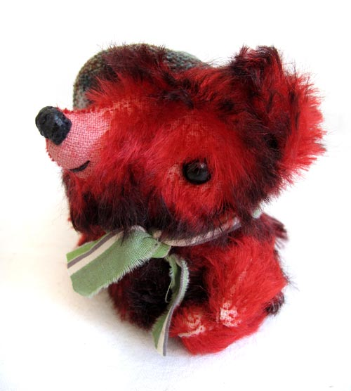 red mohair bear