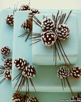 If you want a really unique wedding theme use pinecones