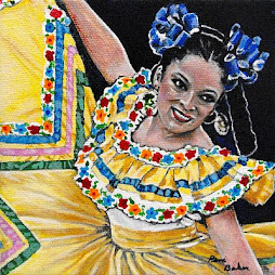 "Beautiful Mexican Dancer 5"" x 5"" acrylic painting"