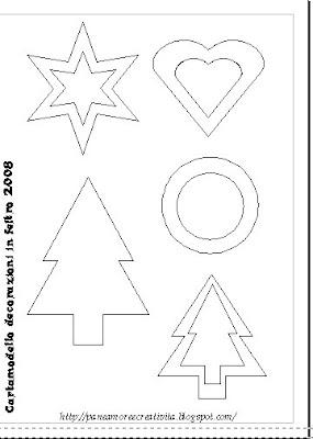 cartamodello per creare decorazioni in feltro per l'albero (paper
