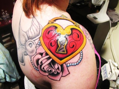traditional heart locket tattoo forearm. Anyone can see this photo
