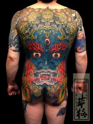 Label Mask tattoo japanese tattoo design