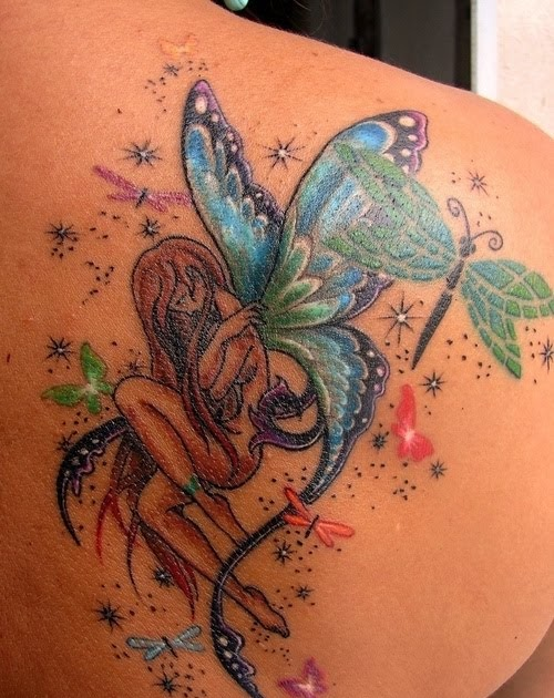 color fairy with butterflies tattoos sexy tattoos design for girls. Black Bedroom Furniture Sets. Home Design Ideas