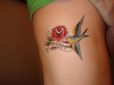 tattoo bird. Rose Flower Tattoo and Bird on