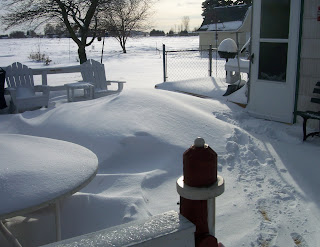 snow drifts on the deck