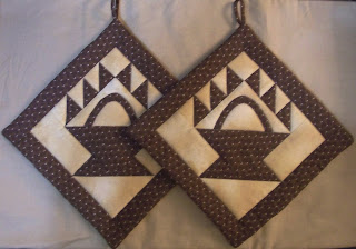double handled potholders in brown and tan colors