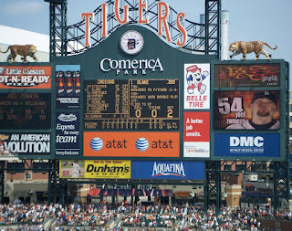 Comerica Park scoreboard showing Zumaya