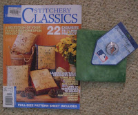 magazine, Detroit Tigers lapel pin and green fabric