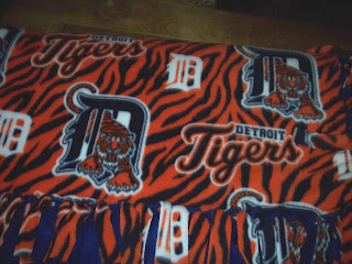 finished Detroit Tigers fleece blanket