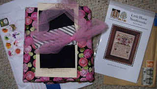 pink flowered tote bag kit and cross stitch pattern