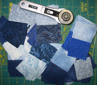 shades of blues in strips and strip sets