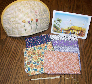 tea cozy, fabrics and bracelet from Beth in Brazil