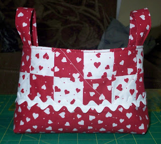 red and white fabric basket for Valentine's Day
