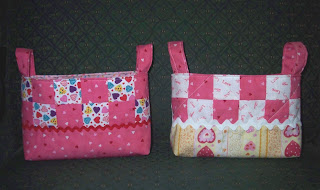Two Valentine fabric baskets