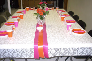 decorated table at Alie's shower