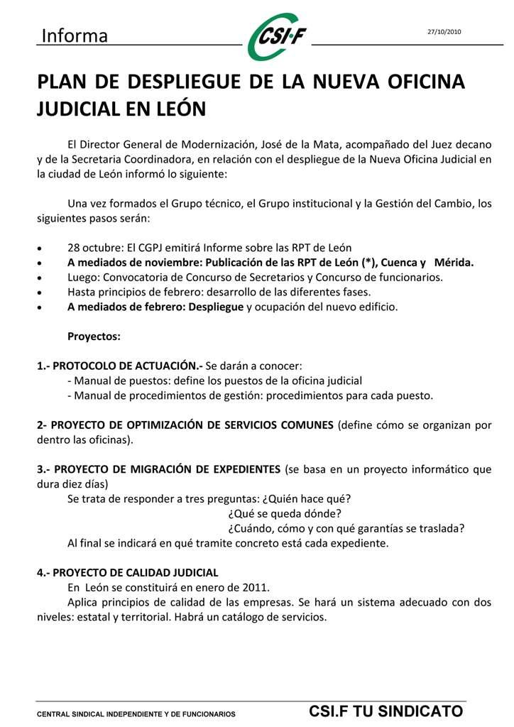 Informaci n de justicia plan despliegue de la noj en leon for Oficina judicial