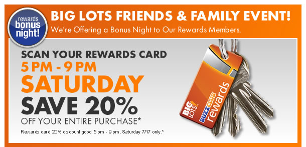 Shopping Tips for Big Lots: 1. For every third order you make as a Big Rewards member, you'll earn $5 in store credit, meaning you can earn up to $50 in rewards when you buy furniture.