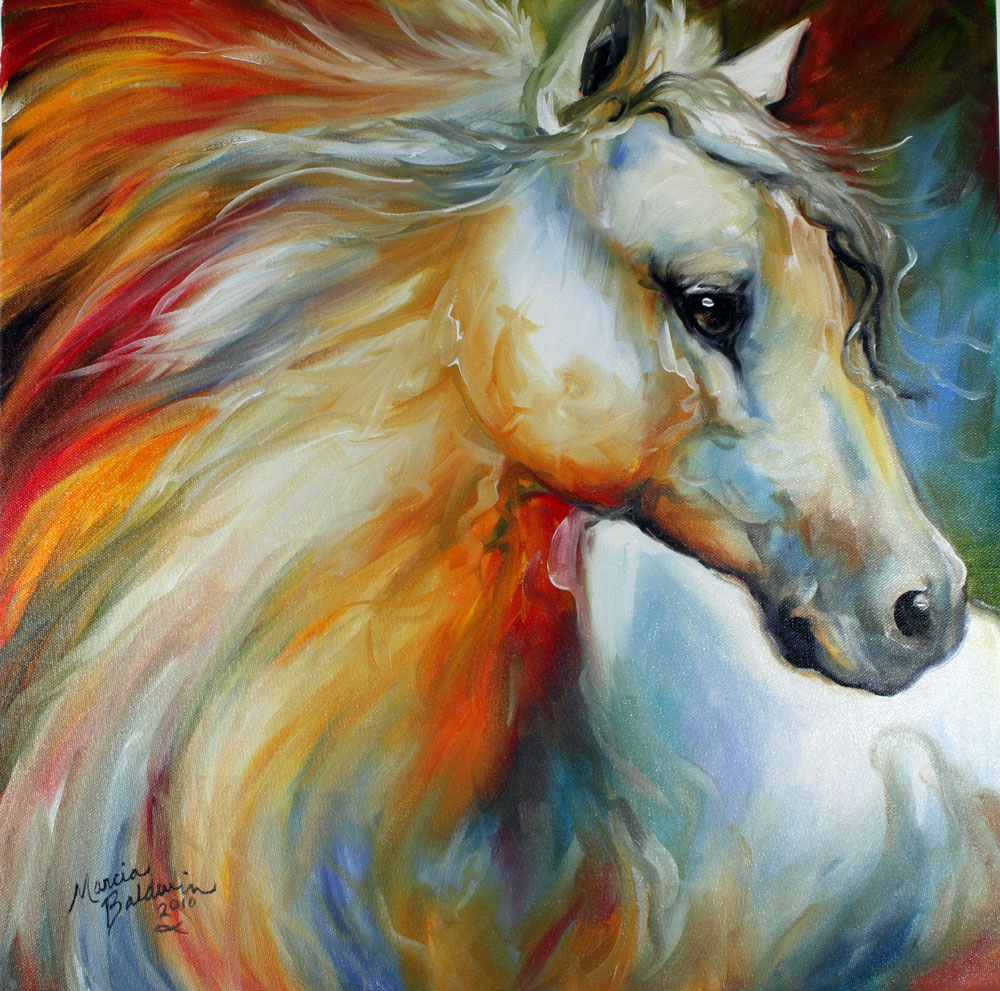 american art moves horse angel no 1 an original oil On oil horse paintings