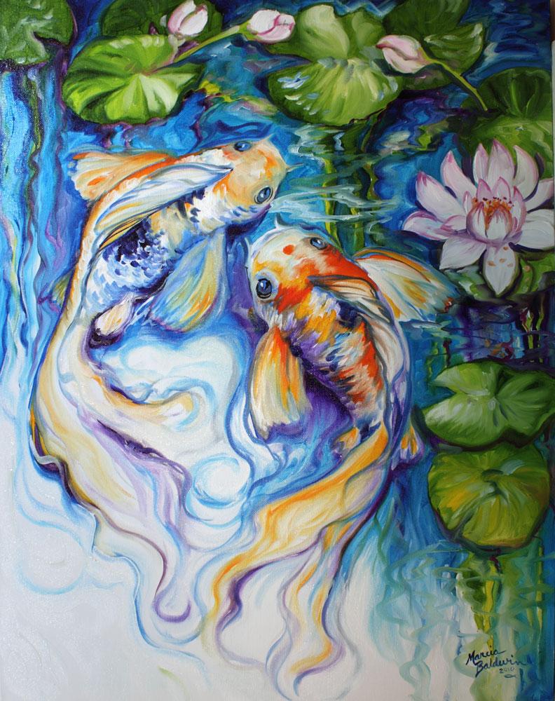 Contemporary fine art gallery koi waterlily original for Koi fish artwork