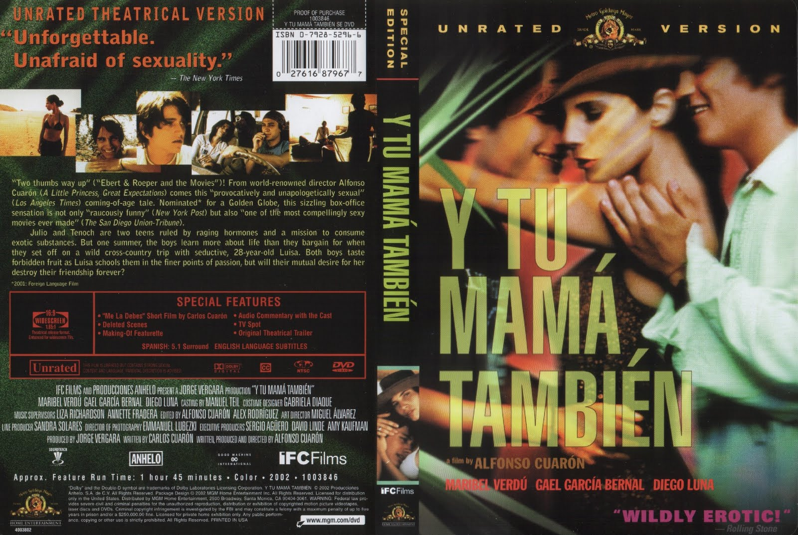 y tu mama tambien essay Y tu mama tambien succeeds in painting a complex portrait of modern mexican life (nuala finnegan) analyse the depiction of mexican society offered in two film texts in response nuala finnegan's statement i shall be looking at how mexican society is depicted in y tu mamá también (2001) and amores perros (2000.