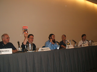 Marv Wolfman, Danny Fingeroth, Rabbi Simcha Weinstein, J.T. Waldman and Steven M. Bergson
