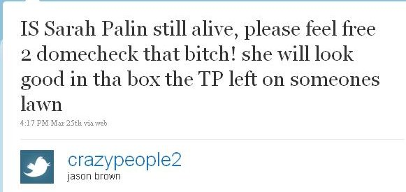 twitter death threats to palin
