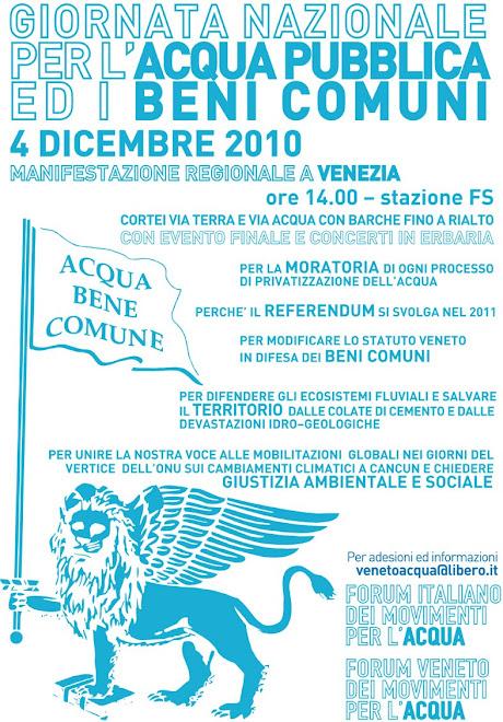 MANIFESTAZIONE REGIONALE IN DIFESA DELL'ACQUA PUBBLICA E DEI BENI COMUNI