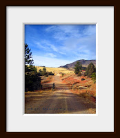 framed landscape photo of red dirt country road with cattle gate in northern Colorado