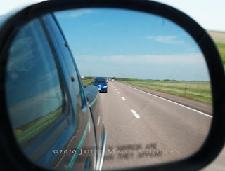 Road view in mirror