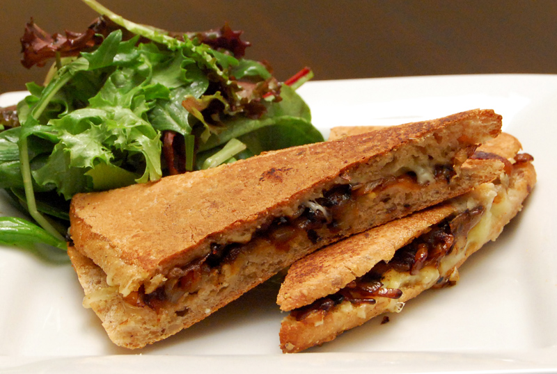 French Onion Panini with Caramelized Onions, Gruyere & Fontina Cheese