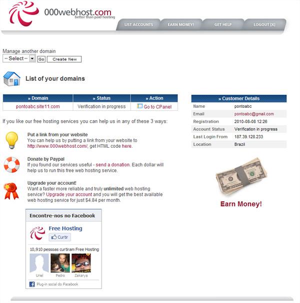 printscreen cpanel painel de controle html