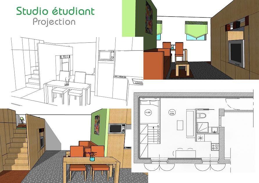 ga lle saint clair am nagement d 39 un studio pour tudiant. Black Bedroom Furniture Sets. Home Design Ideas